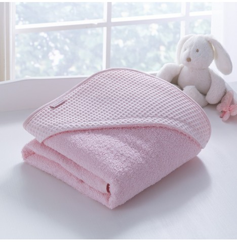 Clair De Lune Luxury Hooded Towel - Waffle Pink